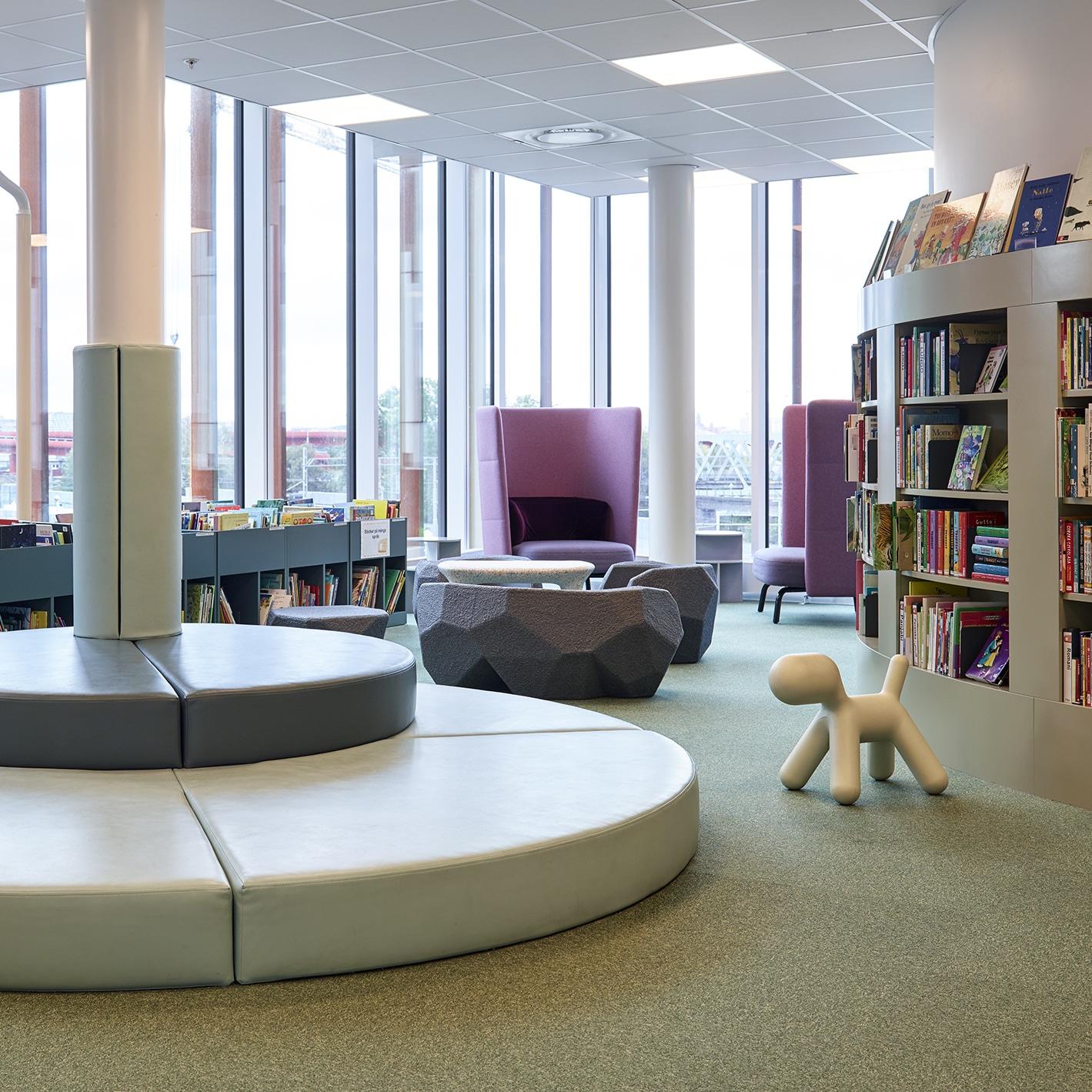 Världslitteraturhuset Library for children and sitting area