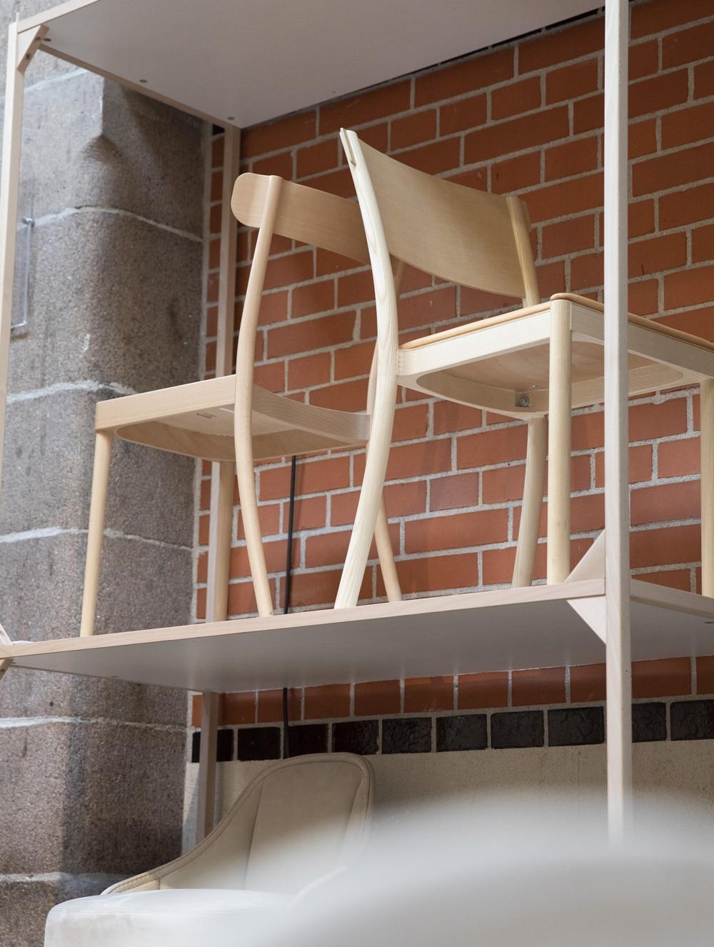 Wood chairs on shelf